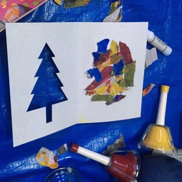 絵の具遊び、からの~、クリスマスカード!